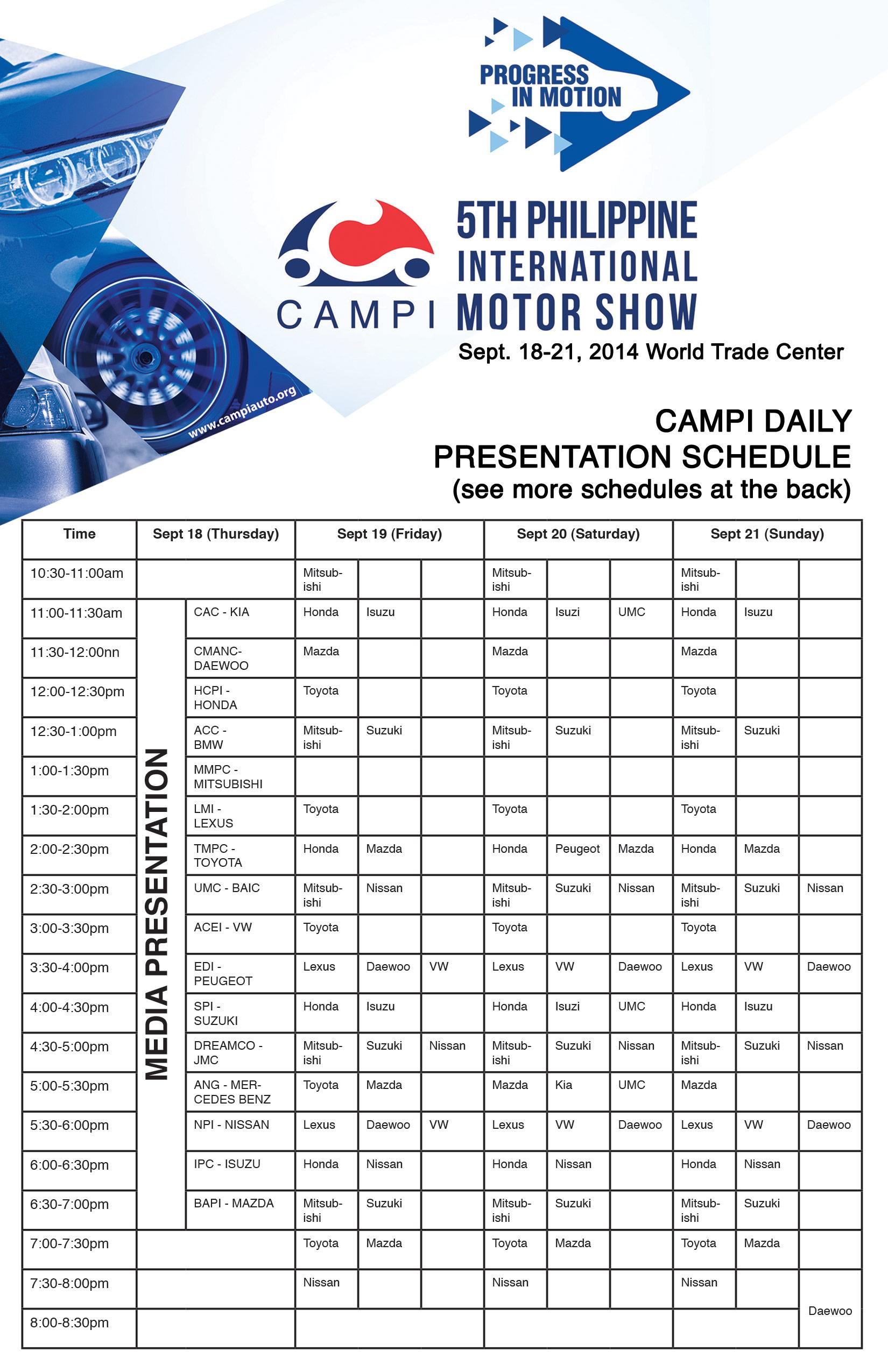 PIMS Schedule